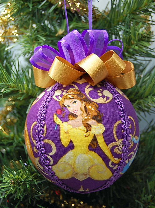 """Ornament made with licensed Princesses purple fabric/styrofoam ball - 4"""""""