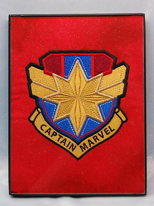 "Lt Wonder Hero shield - 6 x 8"" framed embroidered art"