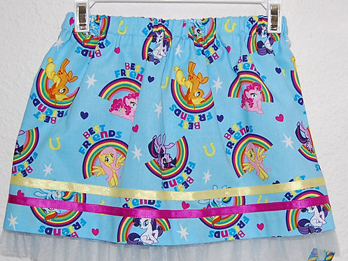 Skirt made with licensed My Little Pony rainbow cotton print fabric