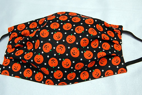 Pumpkins adult face covering - 3 layer/adjustable ear loops/nose wire