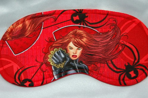 Sleep Mask made with licensed Black Widow cotton fabric
