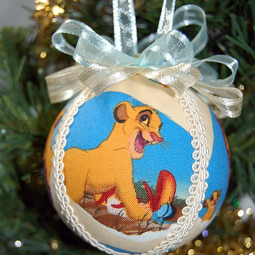 """Ornament made with licensed Lion King fabric/styrofoam ball -3"""""""