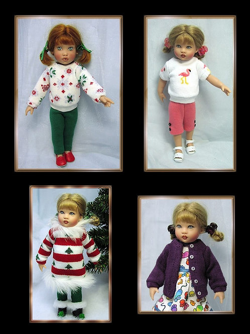"""P301-Sweaters-To-Sew/pants/leggings pattern for 8"""" Kish Riley doll"""