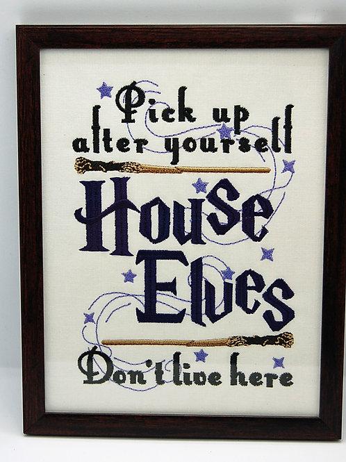 "Elves Don't Clean - 7 x 9"" framed embroidered art"