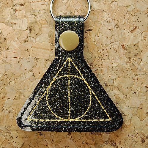 Wizard symbol snap tab key fob - gold/black