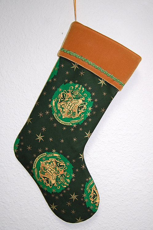 Wizard School Crest Christmas stocking-made w/Licensed cotton print fabric)