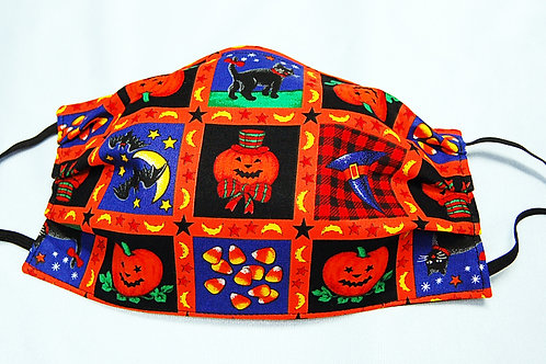 Halloween squares adult face covering-3 layer/adjustable ear loops/nose wire