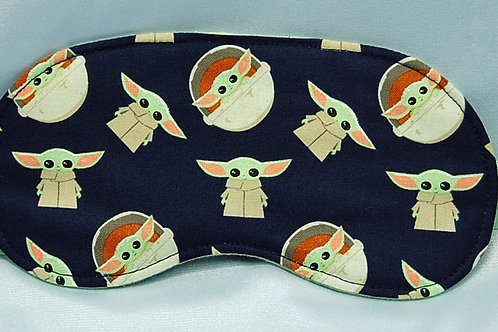 Sleep Mask made with licensed Star Wars The Child cotton (navy) fabric