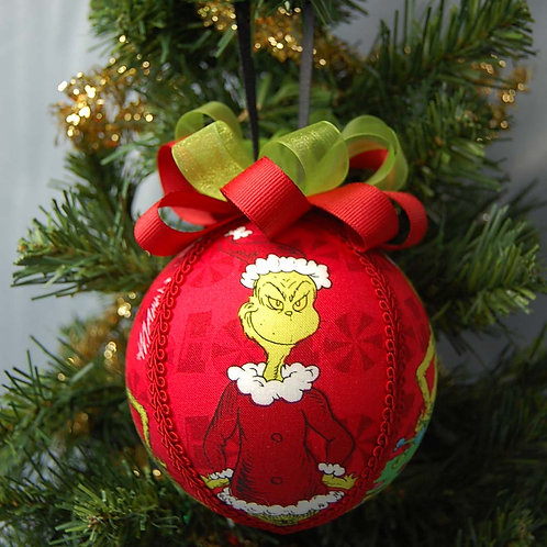 """Ornament made with licensed Grinch cotton fabric/styrofoam ball - 4"""""""