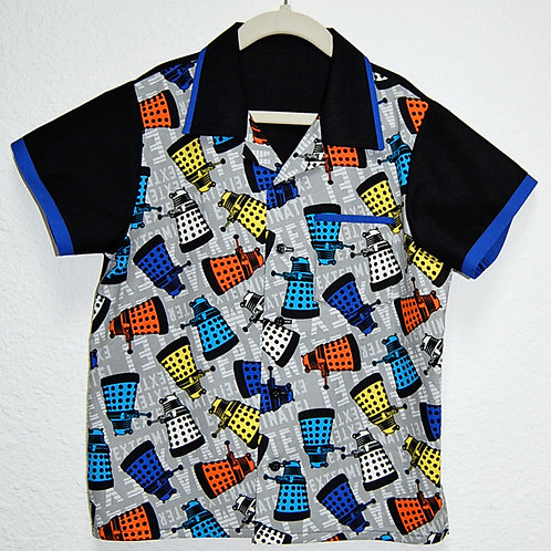 Child's Shirt made with licensed Dr. Who/Daleks cotton print fabric
