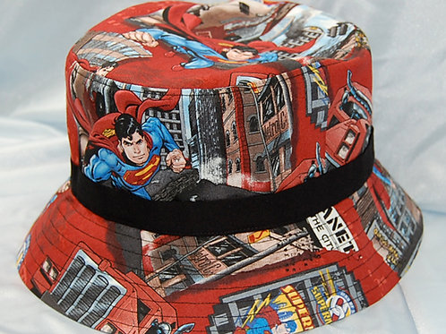 Bucket Hat made with licensed Superman cotton print fabric