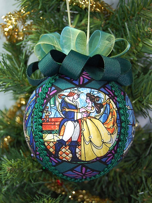 """Ornament made with licensed Beauty & The Beast cotton fabric/styrofoam ball - 4"""""""