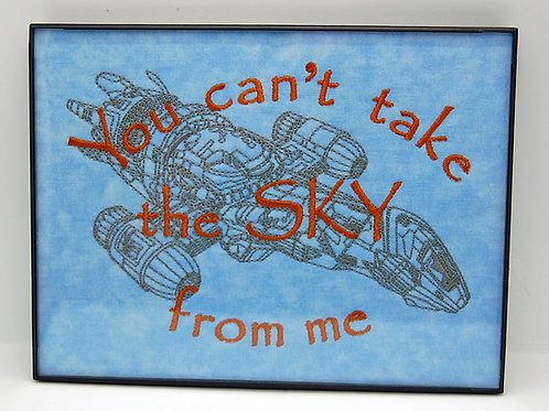 """""""Can't take the sky....."""" - 6 x 8"""" framed embroidered art"""