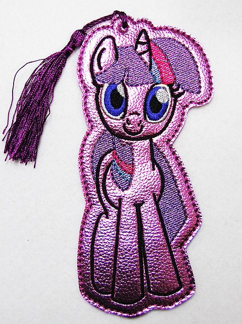 Lavender Pony embroidered bookmark