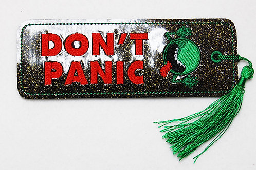 Don't Panic embroidered bookmark