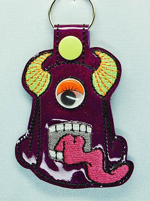 Monster snap tab key fob - purple/orange