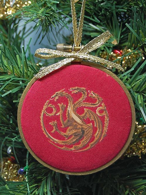 """Throne Game Dragon sigil hoop ornament - 3"""""""