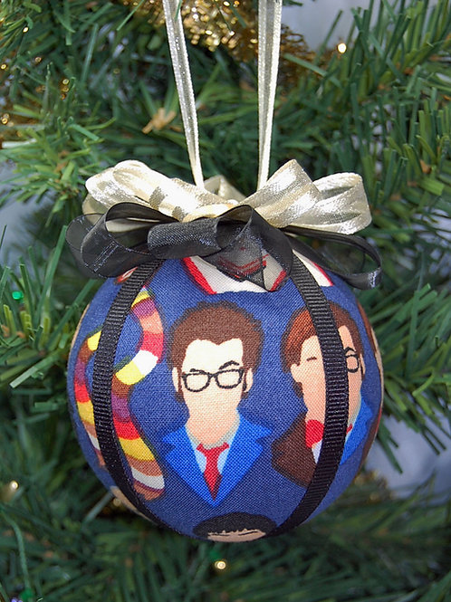 """Ornament made with licensed Dr. Who/Doctors fabric/styrofoam ball - 3"""""""