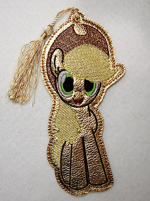 Gold/Gold Pony embroidered bookmark
