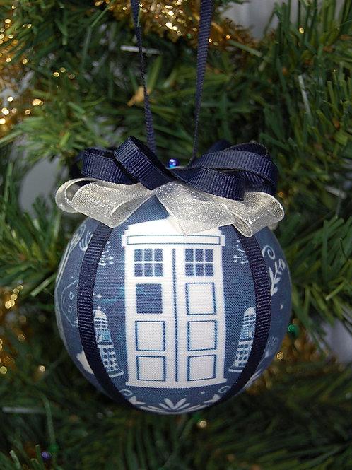 "Ornament made with Dr. Who/Tardis/Screwdriver fabric/styrofoam ball - 3"""
