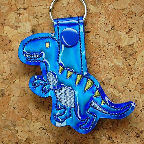 Dinosaur T-Rex snap tab key fob - blue