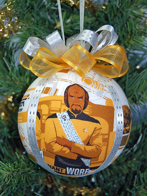 "Ornament made with licensed Star Trek (Next Generation) fabric/styrofoam ball 4"""