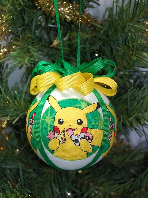 "Ornament made with licensed Pokemon (Christmas) fabric/styrofoam ball - 3"""