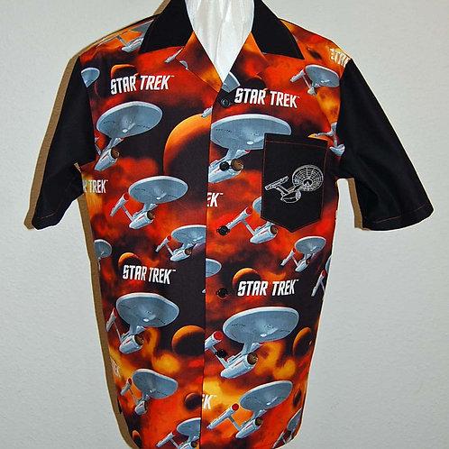 Shirt made with licensed Star Trek orange/blk cotton fabric - embroidered pocket