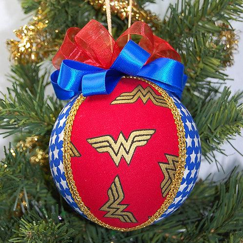 "Woman Wonder logo/stars/retro look ornament - 4"""
