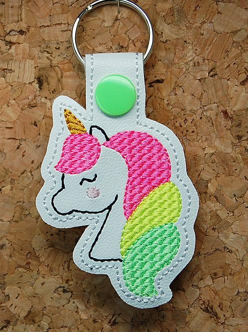 Unicorn - neon colors - snap tab key fob