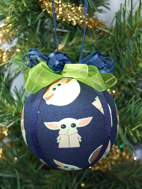 "Ornament made with licensed Star Wars-Mandalorian fabric/styrofoam ball - 3"""