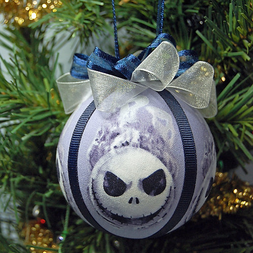 """Ornament made with licensed Nightmare Before Christmas fabric/styrofoam ball-3"""""""