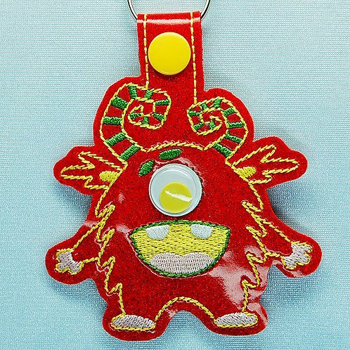 Monster googly eye snap tab key fob - red/yellow