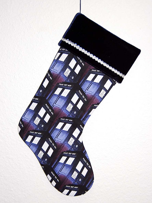 Stocking made with licensed Dr. Who Tardis cotton fabric/navy velvet cuff