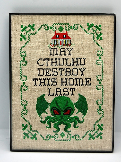 """""""May Cthulhu Destroy This Home Last"""" 6 x 8"""" framed embroidered art"""