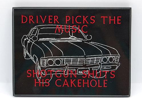"""Driver Picks The Music"" - 6 x 8"" framed embroidered art"