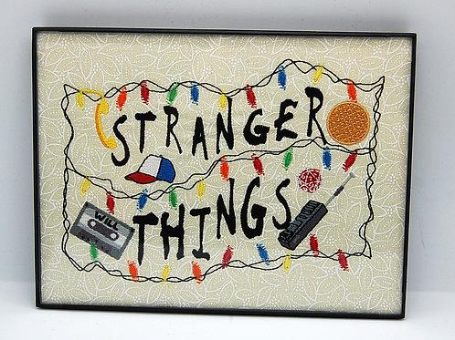 "Unusual Stuff - 6 x 8"" framed embroidered art"