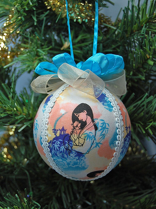 """Ornament made with licensed Mulan cotton fabric/styrofoam ball - 3"""""""