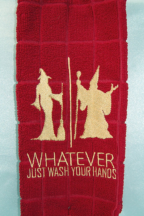 """Witch/Wizard """"Just Wash Your Hands"""" Towel - Red/gold"""