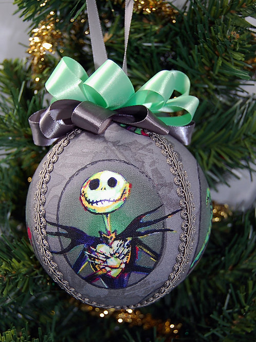 """Ornament made with licensed Nightmare Before Christmas fabric/styrofoam ball -4"""""""