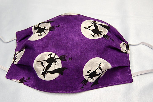 Witches/purple adult face covering - 3 layer/adjustable ear loops/nose wire
