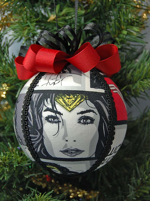 """Ornament made with licensed Wonder Woman fabric/styrofoam ball - 4"""""""