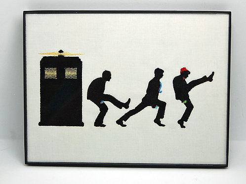 """Doctors - Funny Walk"" - 6 x 8"" framed embroidered art"