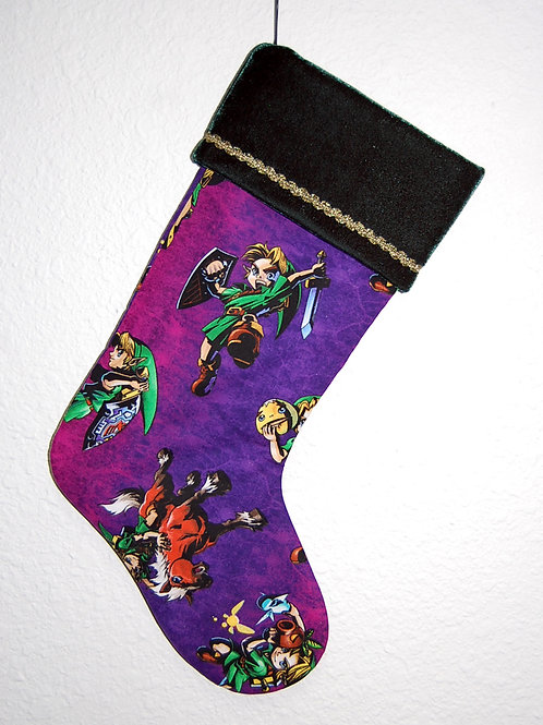 Stocking made with licensed Legend of Zelda (purple) cotton print fabric
