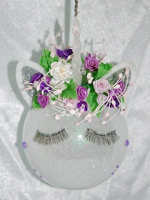 """Unicorn ornament - lavender/purple - 3"""""""