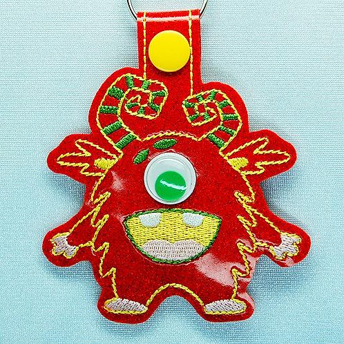 Monster googly eye snap tab key fob - red/green