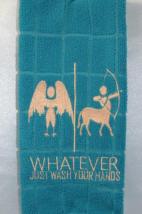 "Harpy/Centaur ""Just Wash Your Hands"" Towel - turn/tan"