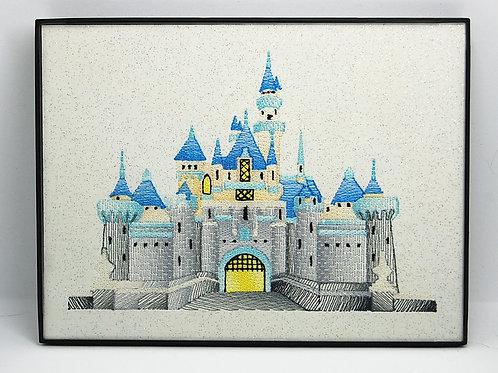 """Castle - 6 x 8"""" framed embroidered art"""