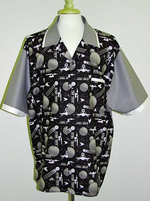 Shirt made with licensed Star Trek black/grey cotton fabric