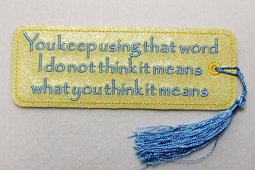 Keep Using That Word embroidered bookmark